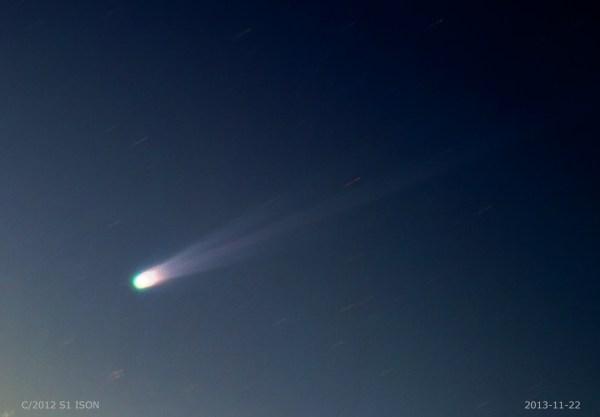 Foto del cometa ISON tomado por Giancarlo Vignale, 22 Noviembre 2013, desde Sanremo Italia.