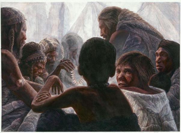 Encuentro entre dos humanidades: los 'Homo sapiens' (izquierda), y los Neandertales (derecha) / Imagen por Kennins & Kennins, Madrid Scientific Films