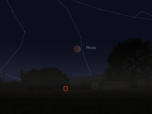 Imagen simulada del Eclipse Total de Luna del 8 de Octubre de 2014. A las 4:55am será el máximo eclipse cuando se encuentre la luna a 12 grados sobre el horizonte oeste.