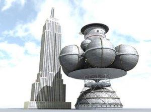 Nave espacial Daedalus comparado con el edificio  Empire State. Imagen por Adrian Mann, dvice.com