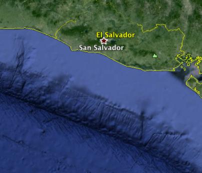 Imagen de Google Maps de la zona de subducción mesoamericana