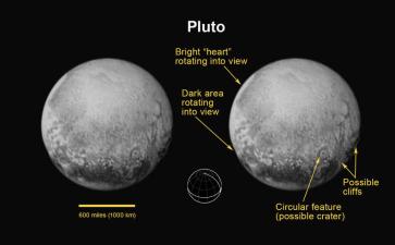 Imágenes de Plutón obtenidas el 10 de julio, en ella se puede observar algunos detalles de ese planeta enano, las imágenes que enviará en los próximos días será por mucho más detallada que esta.