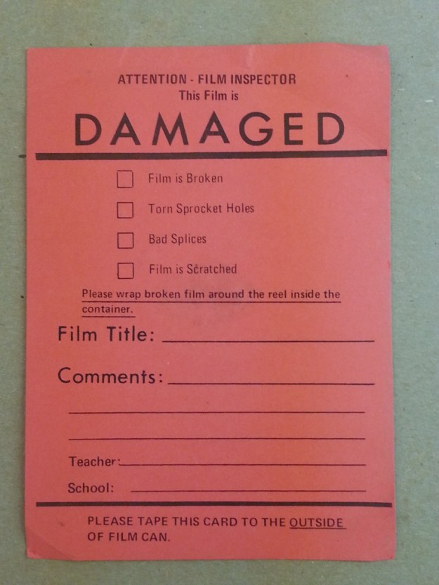 A form provided for documentation of film damage.