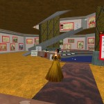 Leslie Weston poses at the Whitehorn Library in Second Life