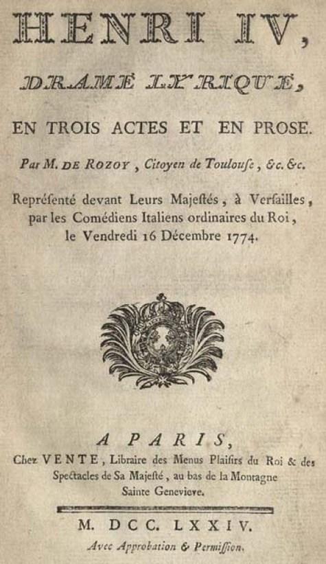 Rozoi, M. de (Barnabé Farmian de) Henri IV, 1774. 2008TW-957tp