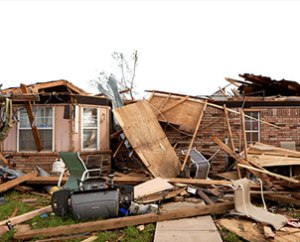 The Oklahoma City, Okla., home of Linda Shoemake, a member of Trinity Lutheran Church in Norman, Okla., lost its roof in the F5 tornado. (Dan Gill)