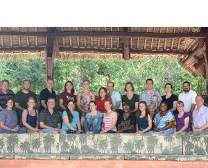 LCMS missionaries serving in Africa pose for a group photo, along with the Rev. Dr. Albert B. Collver III, second from right, during the retreat in Kenya. Collver, director of Regional Operations for the LCMS Office of International Mission, led much of the retreat, focusing on the Gospel of Mark in daily Bible studies. (LCMS Communications/Phil Jaseph)
