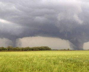Two tornadoes approach Pilger, Neb., on June 16, 2014. The National Weather Service said at least two twisters touched down within roughly a mile of each other. (AP Photo/Eric Anderson)