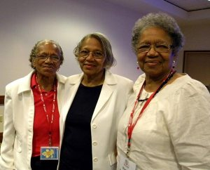 "Sisters — from left, Ida Odom of St. Louis; Mildred Mobley of Omaha, Neb.; and Blanche Dickinson of St. Louis — pose for a photo during the convocation. The three, now in their 70s, began attending Black Ministry Convocations some 30 years ago and have no plans to stop. Odom, who is married to former LCMS black ministry interim director Rev. Dr. Frazier Odom, said she attends convocations to ""know what the church is doing"" and to ""be part of the growth and change."" Dickinson, at right, is the widow of longtime black-ministry leader Rev. Dr. Richard Dickinson, who died in 2010. (LCMS/Paula Schlueter Ross)"
