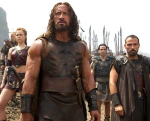 "From left, Aksel Hennie plays Tydeus, Ingrid Bolsø Berdal plays Atalanta, Dwayne Johnson plays Hercules, Reece Ritchie plays Iolaus and Rufus Sewell plays Autolycus in ""Hercules,"" from Paramount Pictures and Metro-Goldwyn-Mayer Pictures. (Kerry Brown)"