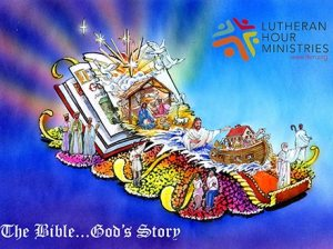 "The design of the 2015 Rose Parade float sponsored by Lutheran Hour Ministries features an open Bible and depictions of the Nativity, Moses, Noah's ark and the Baptism of Jesus. The theme of the float is ""The Bible … God's Story."" (Lutheran Hour Ministries)"