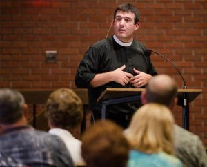 The Rev. Bryan Wolfmueller, pastor of Hope Lutheran Church in Aurora, Colo., leads a keynote address July 29 at the 2014 Institute on Liturgy, Preaching and Church Music in Seward, Neb. (LCMS/Erik M. Lunsford)