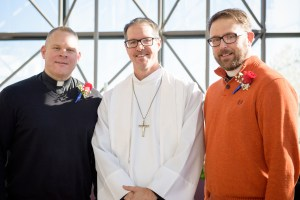 Portrait of the (L-R) Rev. Peter Burfeind, the Rev. Steve Schave, and the Rev. Adam DeGroot, following a Service of Sending for new national missionaries at the International Center chapel of The Lutheran ChurchñMissouri Synod on Tuesday, Jan. 12, 2016, in Kirkwood, Mo. LCMS Communications/Frank Kohn