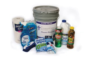 "Supplies that make up a ""flood bucket"" include paper towels, cleansing powder, liquid cleaner, bleach, rubber gloves and other items. (LCMS/Erik M. Lunsford)"