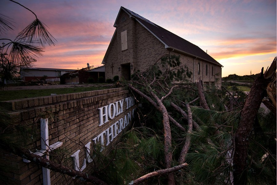 Holy Trinity Lutheran Church in Tupelo, Miss. — with catastrophic damage from an EF3 tornado that hit April 28, 2014 — is just one of many Synod congregations that have received emergency assistance from LCMS Disaster Response. (LCMS/Erik M. Lunsford)
