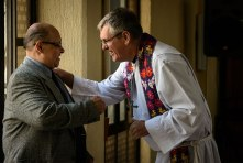 As the congregation's interim pastor, the Rev. Daniel Conrad greets a worshiper at St. Peter Lutheran Church in Mexico City. Conrad is an LCMS career missionary helping the Lutheran Synod of Mexico develop and sustain the preparation of pastors.