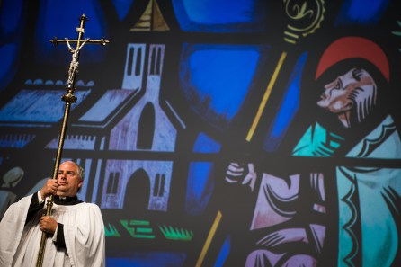 The Rev. Allen Braun of Mount Hulda Lutheran Church in Cole Camp, Mo., served as crucifer at the opening Divine Service of the 66th Regular Convention of The Lutheran Church—Missouri Synod on Saturday, July 9, in Milwaukee. (LCMS/Erik M. Lunsford)