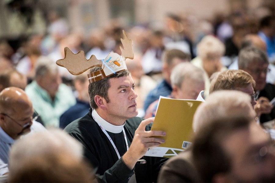 The Rev. Chadric Dietrich, pastor of Immanuel Lutheran Church in Rockwell City, Iowa, listens during the July 12 convention session in Milwaukee. (LCMS/Michael Schuermann)
