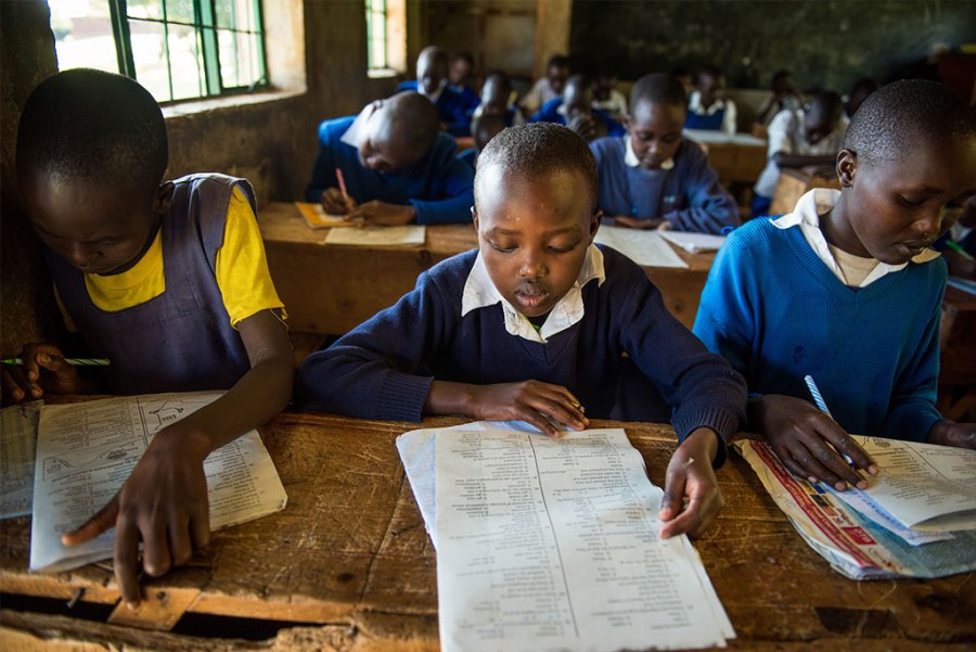 "Students at a Project24 school in Chepareria, Kenya, prepare for exams on June 23. A new LCMS ""crowdfunding"" project aims to provide computers for Project24 students at the school. (LCMS/Erik M. Lunsford)"