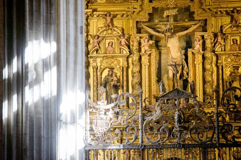 A gilded side altar is just one element of the Cathedral Santa Maria, an enormous structure that is a major tourist attraction.