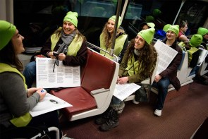 Students from Concordia University Wisconsin, Mequon, Wis., ride the D.C. Metro on their way to the March for Life.