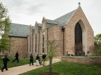Students and guests arrive at the Chapel of St. Timothy and St. Titus on the campus of Concordia Seminary, St. Louis, for a worship service in 2014. A suspicious package delivered Aug. 7, 2017, to the seminary was examined by bomb technicians who rendered it harmless, but the investigation continues. (LCMS/Erik M. Lunsford)