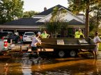 Lutherans from Memorial Lutheran Church, Houston, Texas, help a church member clean out his house on Monday, Sept. 4, 2017, after floodwaters following Hurricane Harvey damaged the home on Monday, Sept. 4, 2017, in Houston. LCMS Communications/Erik M. Lunsford