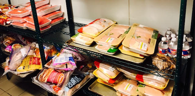 An outpouring of food donations fill the refrigerators at Salem, Tomball.