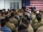 Secretary of Defense Jim Mattis and NATO Secretary General Jens Stoltenberg speak to troops in Kandahar, Afghanistan, Sept. 28, 2017. (DOD photo by U.S. Air Force Staff Sgt. Jette Carr)