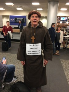 The Rev. Victor Nelson in costume and ready for his Reformation Day flight.