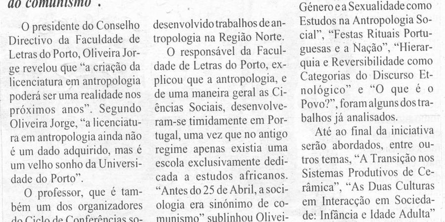 """(418) """"Licenciatura em Antropologia na Universidade do Porto"""" - 1995 02 02 1ºJaneiro ...-240r"""