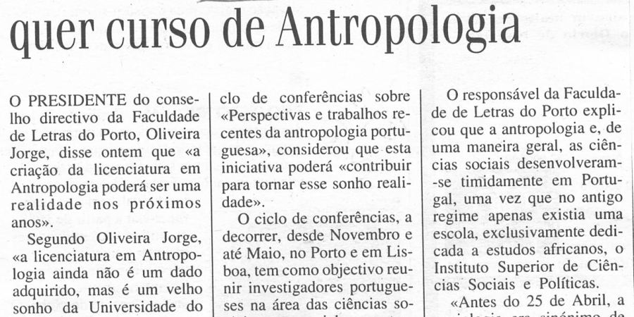 """(416) """"Faculdade de Letras do Porto quer cursos de Antropologia"""" - 1995 02 02 DNoticias ...-110r"""