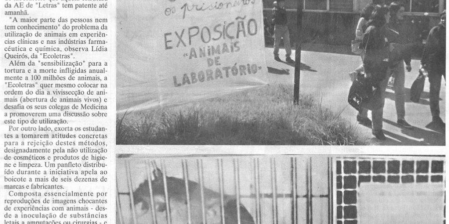 """(408) """"Estudantes de Letras contra experiências em animais"""" - 1995 05 03 JNoticias ...-760r"""