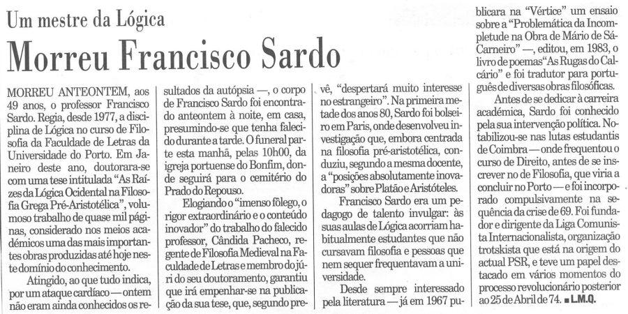 """(400) """"Morreu Francisco Sardo"""" - 1995 09 06 Publico 31-160r"""