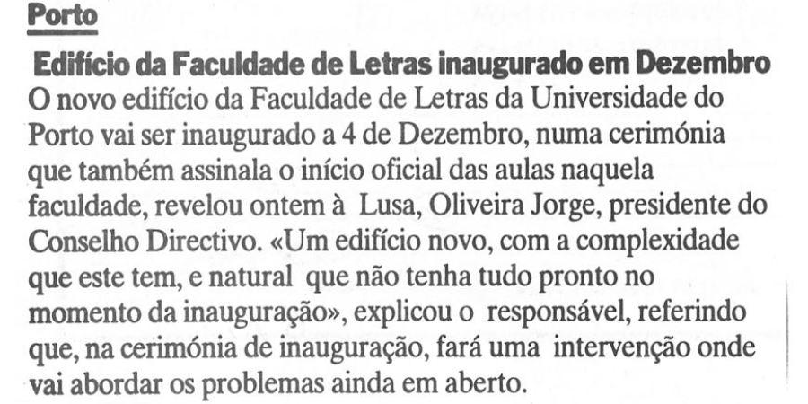 """(388) """"Edifício da Faculdade de Letras inaugurado em Dezembro"""" - 1995 11 08 DEconomico ...-50r"""