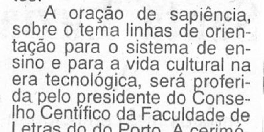 """(383) """"Edifício da Faculdade de Letras será inaugurado em Dezembro"""" - 1995 11 16 AOrdem ...-50r"""