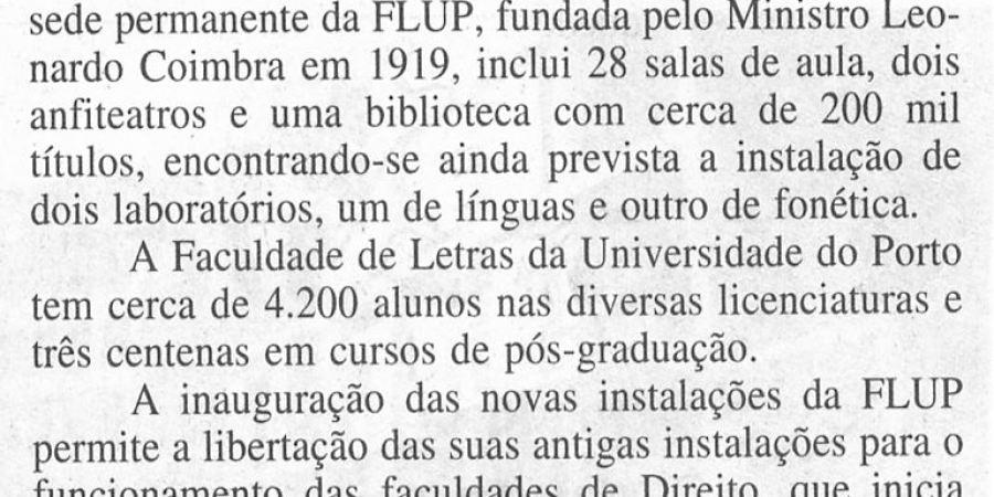 """(373) """"Nova Faculdade de Letras inaugurada no Porto"""" - 1995 12 05 DMinho ...-120r"""