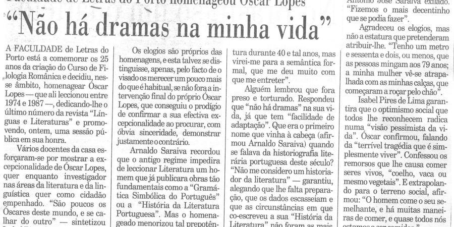 """(359) """"Faculdade de Letras do Porto homenageou Óscar Lopes"""" - 1996 01 30 Publico ...-180r"""