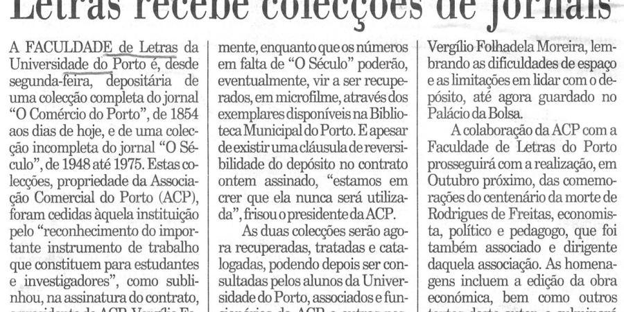 """(339) """"Letras recebe colecções de jornais"""" - 1996 04 19 Publico ...-120r"""