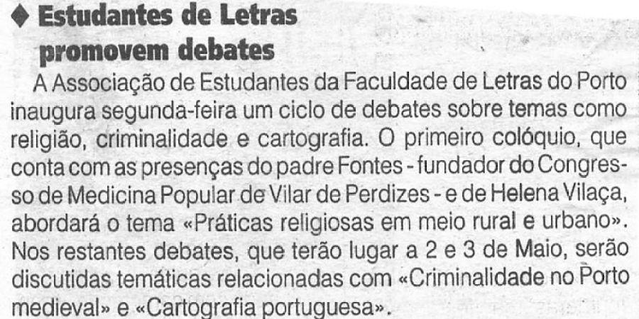 """(334) """"Estudantes de Letras promovem debates"""" - 1996 04 26 1ºJaneiro ...-40r"""