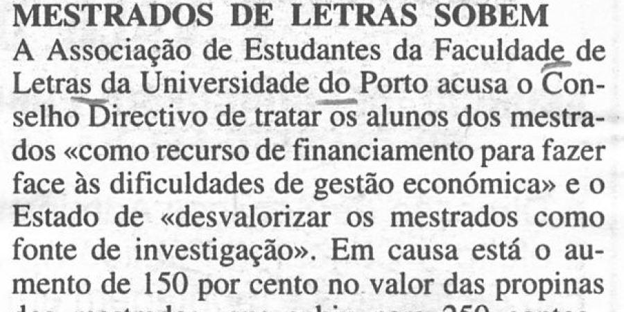 """(330) """"Mestrados de Letras sobem"""" - 1996 05 17 DNoticias ...-30r"""