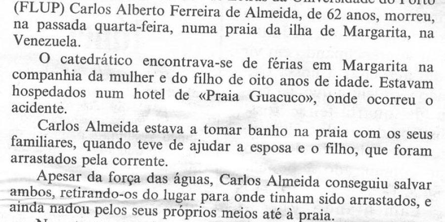 """(314) """"Catedrático do Porto morre numa praia da Venezuela"""" - 1996 08 02 CPorto ...-100r"""