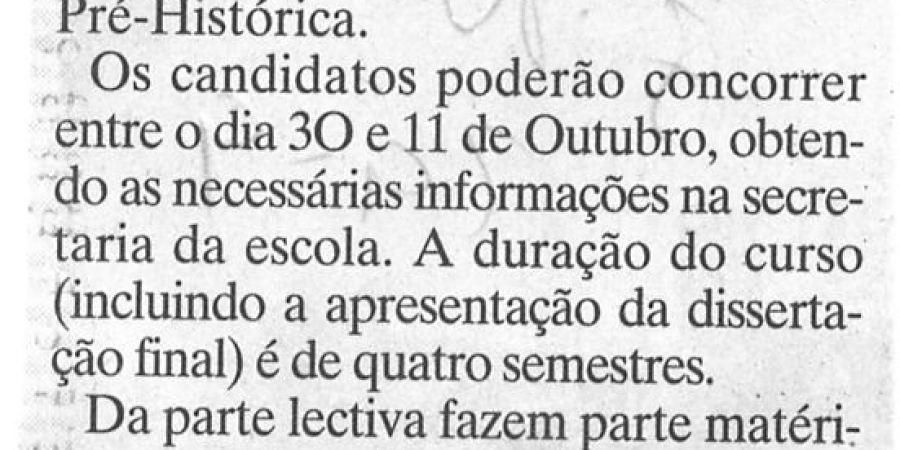 """(313) """"Pré-História em Mestrado nas 'Letras' do Porto"""" - 1996 09 29 JNoticias ...-70r"""