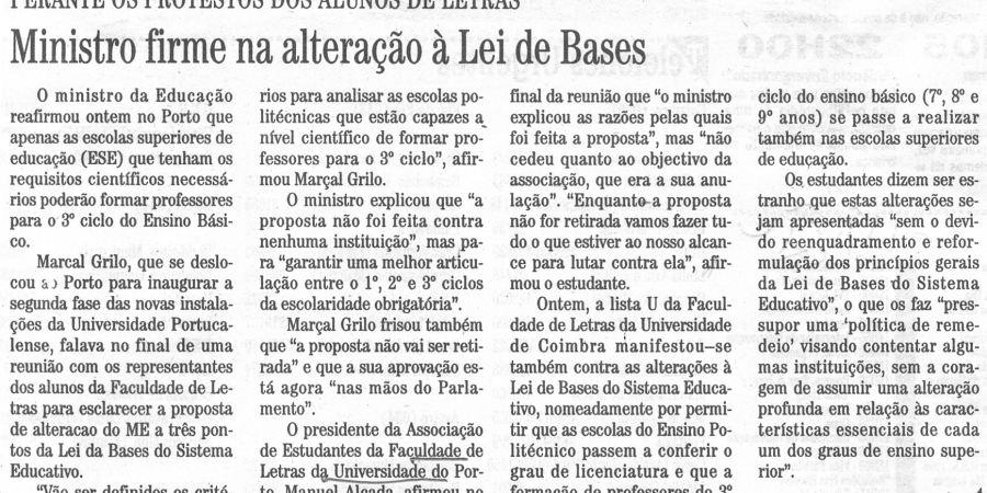 """(285) """"Ministro firme na alteração à Lei de Bases""""- 1996 10 22 DiarioBeiras ...-180r"""