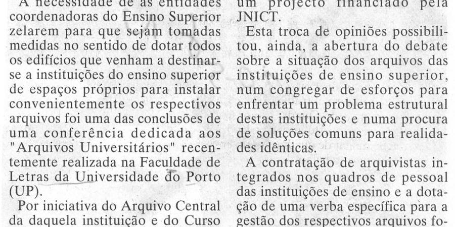 """(265) """"Arquivos universitários em conferência"""" - 1997 05 20 JNoticias 11-130r"""