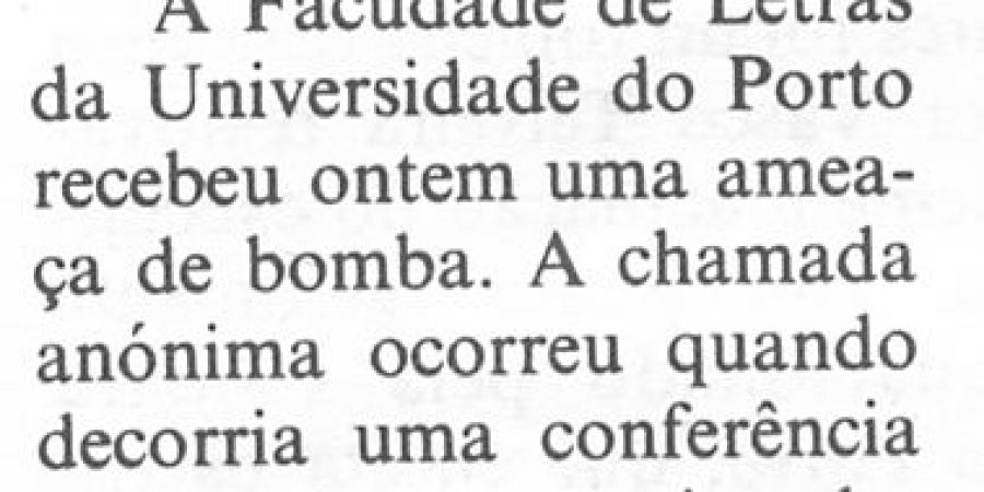 """(264) """"Ameaça de bomba na Faculdade de Letras"""" - 1997 05 23 CPorto ...40r"""