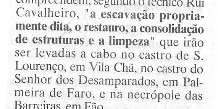 """(259) """"Campanha de escavações arqueológicas no Concelho"""" - 1997 07 07 JNoticias ...-160r"""