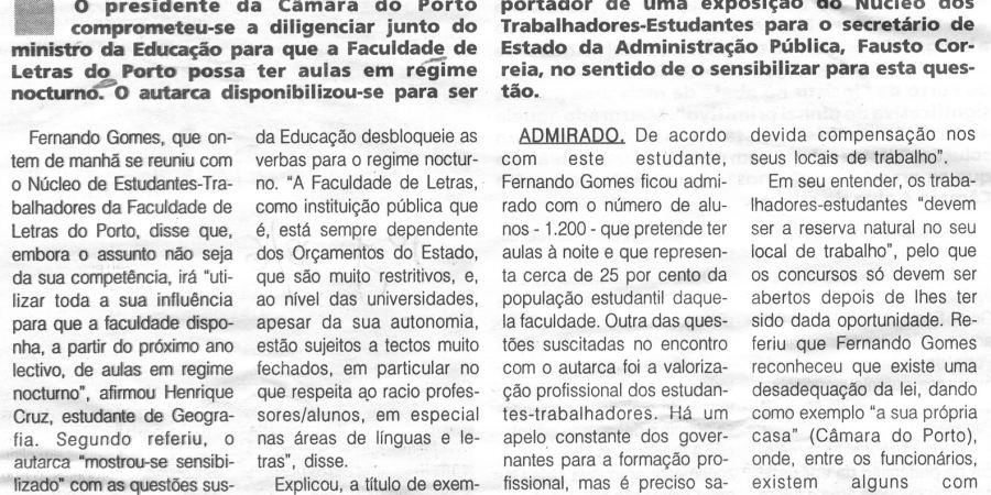 """(212) """"Gomes intercede junto de Grilo para abrir curso nocturno em Letras"""" - 1998 06 18 1ºJaneiro ...-260r"""