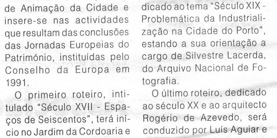 """(207) """"Autarquia organiza roteiros temáticos pelo Porto"""" - 1998 09 16 1ºJaneiro ...-150r"""