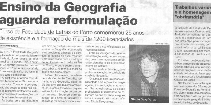 """(175) """"Ensino da Geografia aguarda reformulação"""" - 1998 12 06 JNoticias ...-320r"""